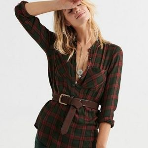 Lucky Brand Popover Tunic Plaid Top
